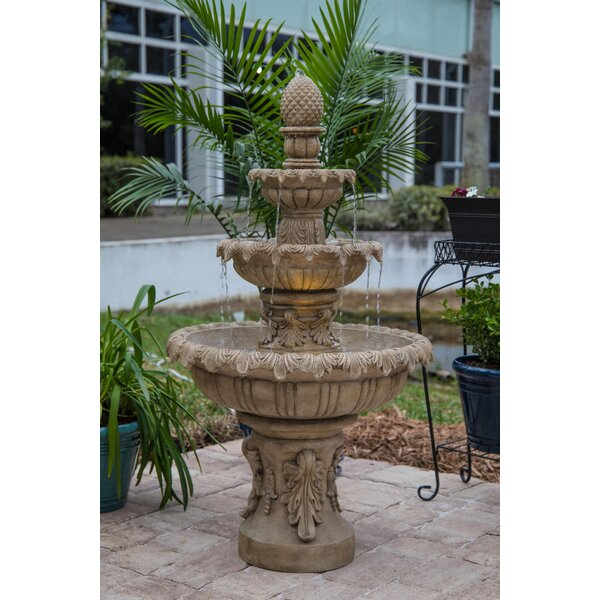 Danelle Resin Outdoor Fountain with Light by Fleur De Lis Living