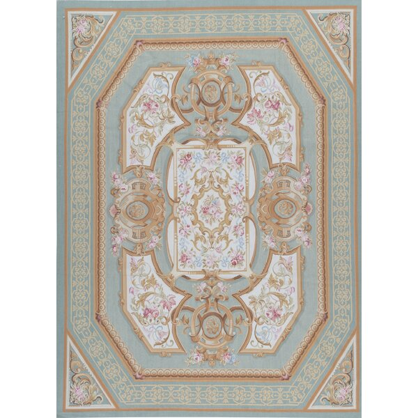 Petitepoint Oriental Hand-Knotted Wool Brown/Blue Area Rug