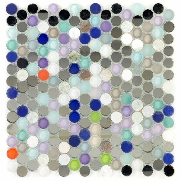 Penny Round Glass Mosaic Tile in Harbor Haze by Splashback Tile
