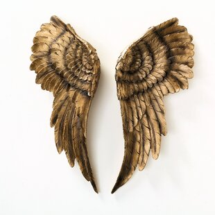 Small Wooden Gold Plate with Wings Wall Art