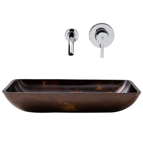 Fusion Glass Rectangular Vessel Bathroom Sink with Faucet by VIGO