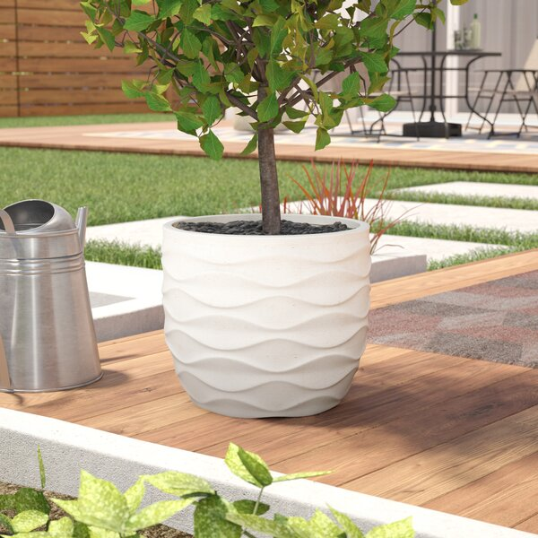 Cowie Wavy Design MgO Fiberclay Pot Planter by Wrought Studio