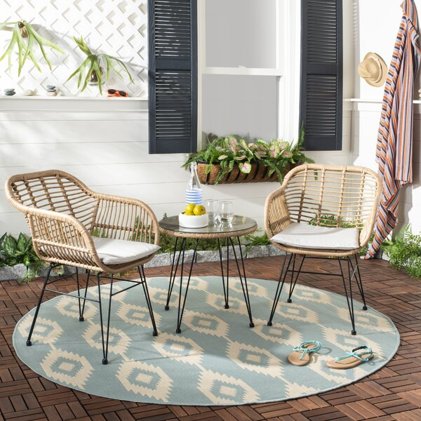 Conn 3 Piece Rattan With Cushions By Bungalow Rose