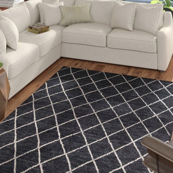 Brice Hand-Knotted Charcoal Area Rug by Mercury Row