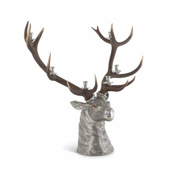 Lodge Elk Head Metal Candelabra by Vagabond House