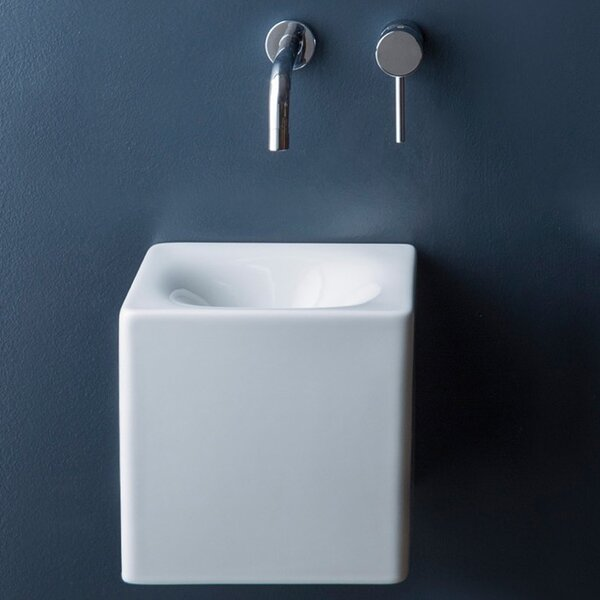 Cube Ceramic 10 Wall Mount Bathroom Sink by Scarabeo by Nameeks
