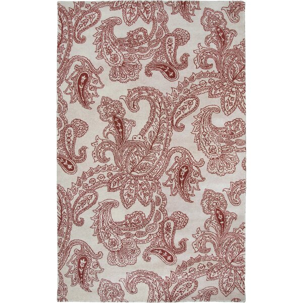 Floral Hand-tufted Wool Beige/Red Area Rug by Rizzy Rugs