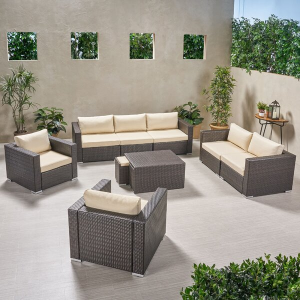 Guccione Outdoor Extended 9 Piece Sofa Seating Group with Cushions by Orren Ellis