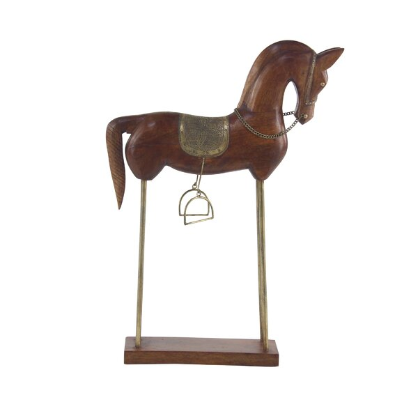 Lindenhurst Eclectic Horse Wood Figurine by Charlton Home