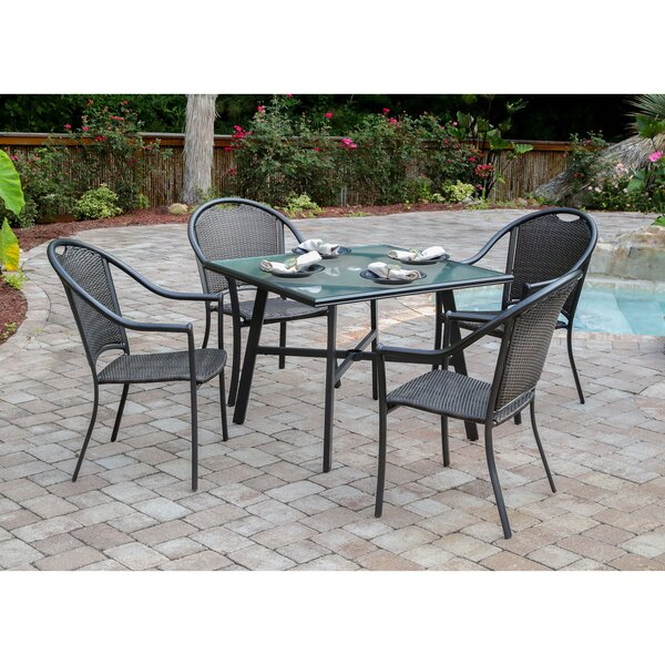 Bearden 5-Piece Commercial-Grade Patio Set with 4 Woven Dining Chairs and a 38-In. Glass-Top Dining Table by Charlton Home