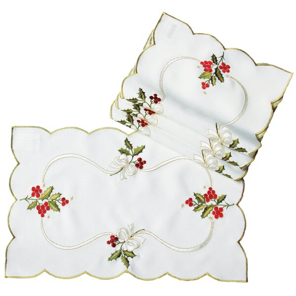 Holly Berry Embroidered Placemat (Set of 4) by The Holiday Aisle