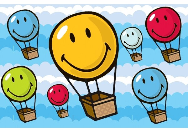 Smiley World Hot Air Balloon Area Rug by Fun Rugs