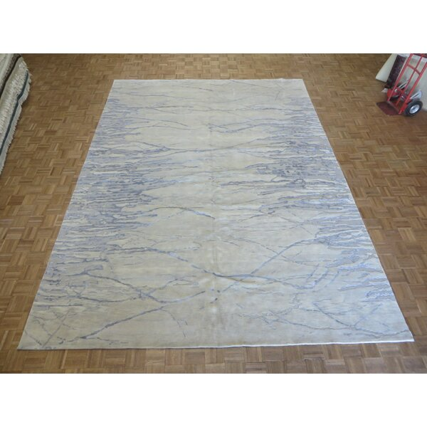 One-of-a-Kind Dickison Modern Hand-Knotted Wool Ivory Area Rug by 17 Stories