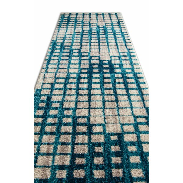 Angie Mid-Century Modern Blue Area Rug by Ebern Designs