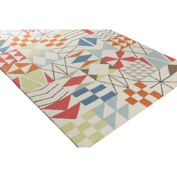 Bryant Hand-Hooked Neutral/Orange Area Rug by Latitude Run