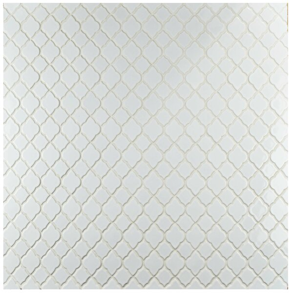 Goulette 10.5 x 10.5 Ceramic Mosaic Floor and Wall Tile in Glossy White by EliteTile