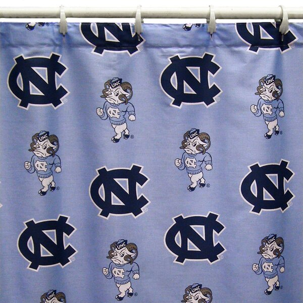 NCAA North Carolina Cotton Printed Shower Curtain by College Covers