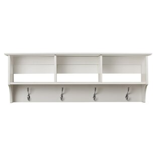 shelf wooden q farmhouse with and hallway wall storage hooks preview