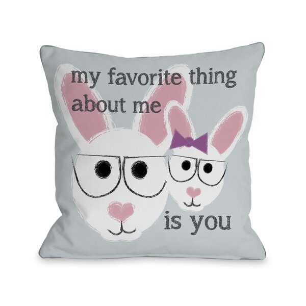 Favorite Thing About Me Bunnies Throw Pillow by One Bella Casa