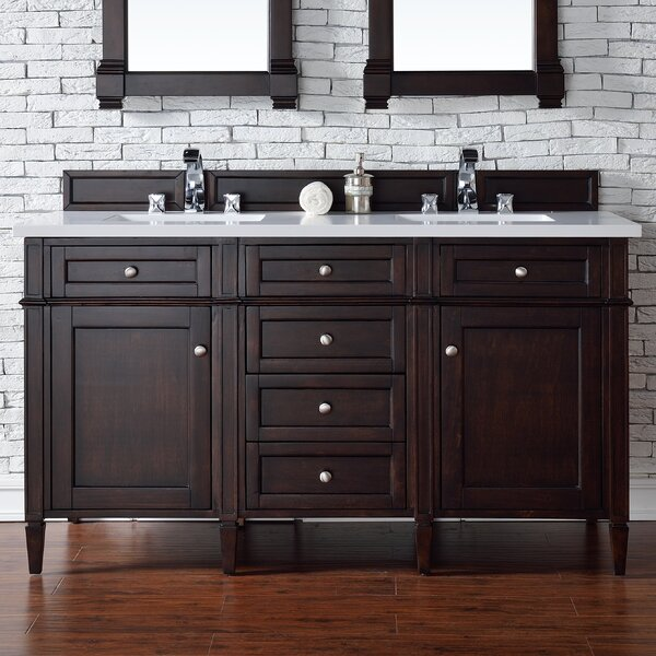 Deleon Traditional 60 Double Burnished Mahogany Wood Base Bathroom Vanity Set by Darby Home Co
