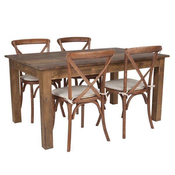 Apollonia 5 Piece Solid Wood Dining Set by Gracie Oaks