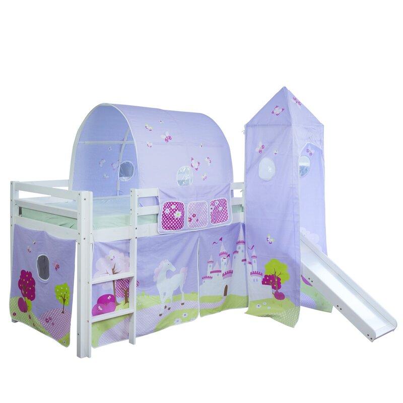 homestyle4u hochbett schloss mit rutsche vorhang turm. Black Bedroom Furniture Sets. Home Design Ideas