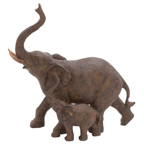 Bertaux Trumpeting Mother and Baby African Elephant Figurine by World Menagerie
