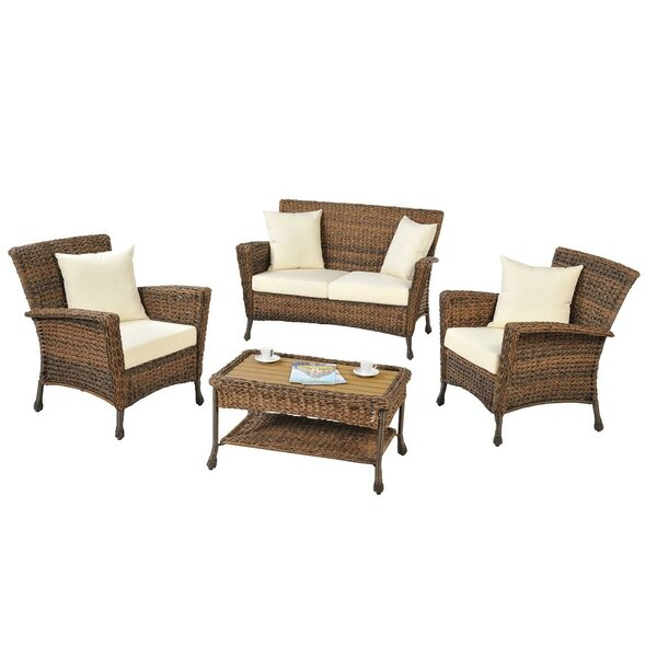 Ophélie 4 Piece Rattan Sofa Set with Cushions by One Allium Way