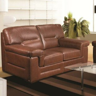 Kennard 69 Genuine Leather Pillow Top Arm Loveseat by Red Barrel Studio®