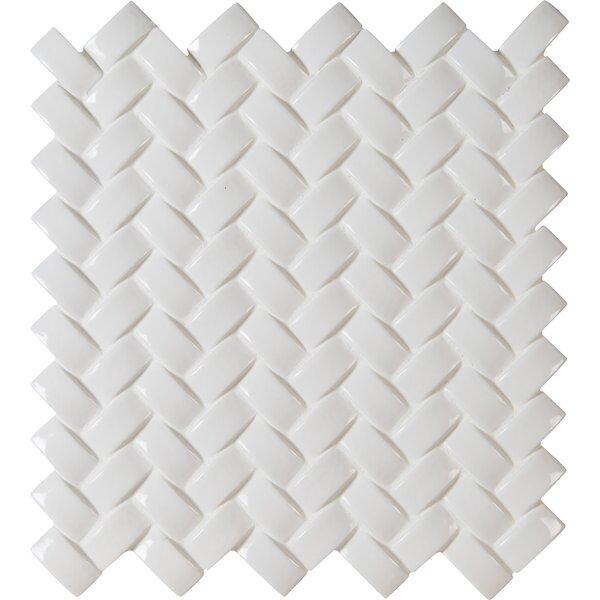Arched Herringbone Ceramic Mosaic Tile in Whisper White by MSI