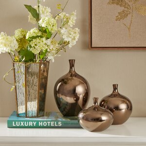 Ansen Metallic 3 Pieces Table Vase Set