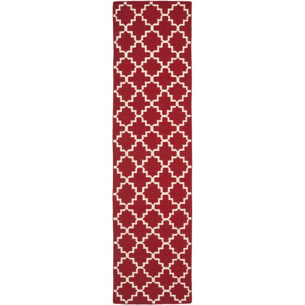 Dhurries Red/Ivory Area Rug by Safavieh
