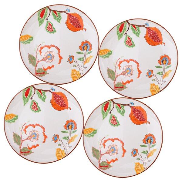 Farren 8 Salad Plate Set Guava Floral Set (Set of 4) by Charlton Home