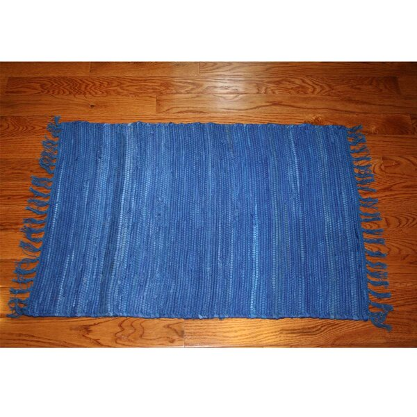 One-of-a-Kind Linmore Solid Hand-Woven Blue Area Rug by Bay Isle Home