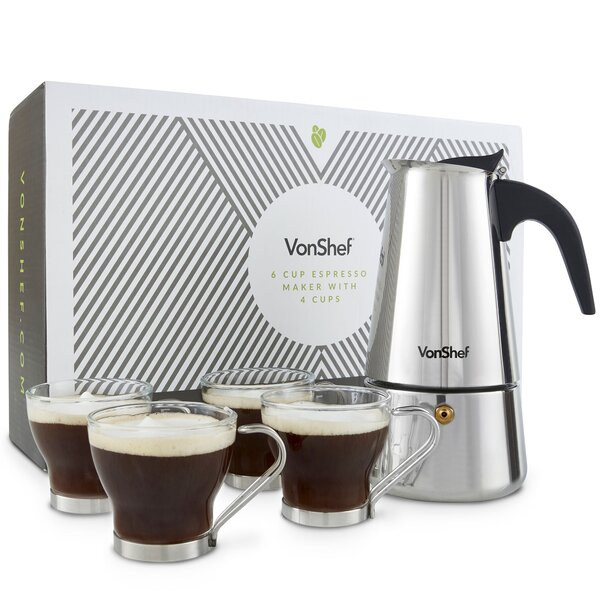 5 Piece 6-Cup Stainless Steel Espresso French Press Coffee Maker Set by VonShef
