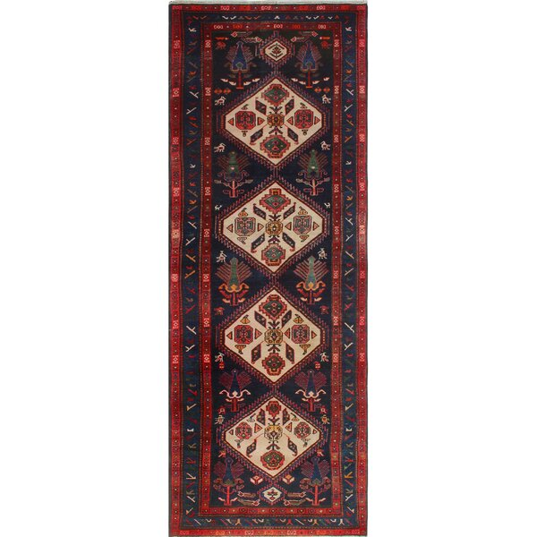 One-of-a-Kind Altizer Cocasian Hand-Knotted Wool Red/Blue Area Rug by Isabelline