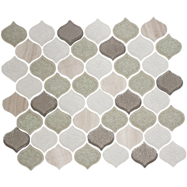 Teardrop Crackle Random Sized Glass Mosaic Tile in Light Gray/White by Susan Jablon