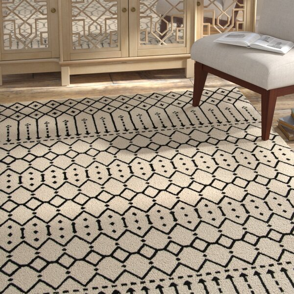 Cuddy Hand-Tufted Wool Ivory/Black Area Rug by Bungalow Rose