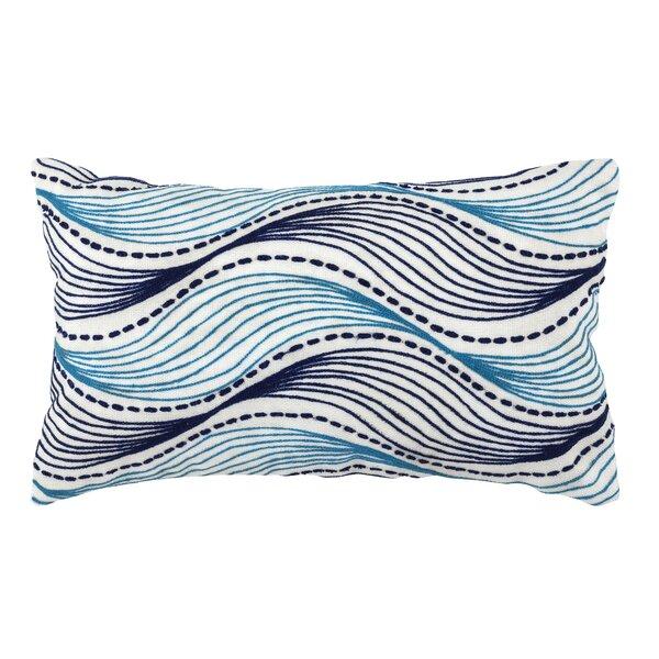 Nolen Embroidered Waves Outdoor Lumbar Pillow