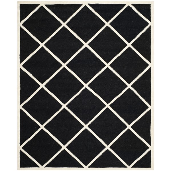 Darla Hand-Tufted Wool Black/White Area Rug by Winston Porter