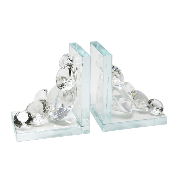 Crystal Diamond Bookends (Set of 2) by Rosdorf Park