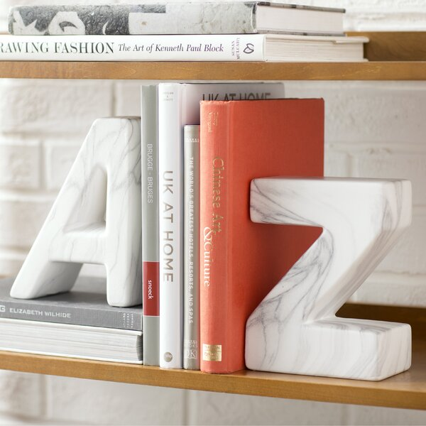 """A"" and ""Z"" Ceramic Book Ends (Set of 2) b"
