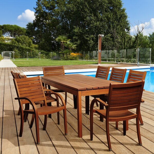 Stephany International Home Outdoor 9 Piece Dining Set by Rosecliff Heights