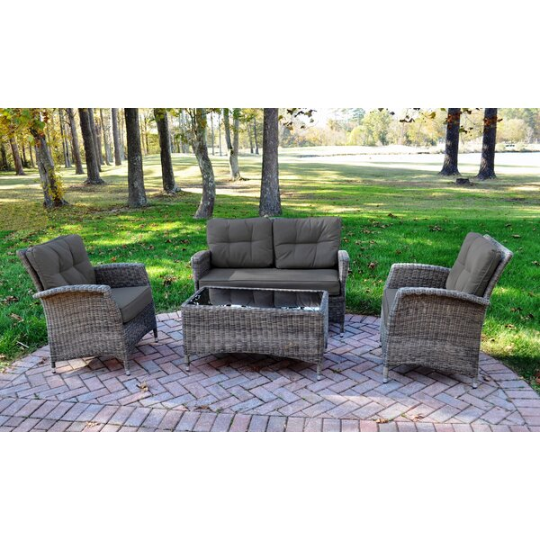 Evatt 4 Piece Rattan Sunbrella Sofa Set with Cushions by August Grove