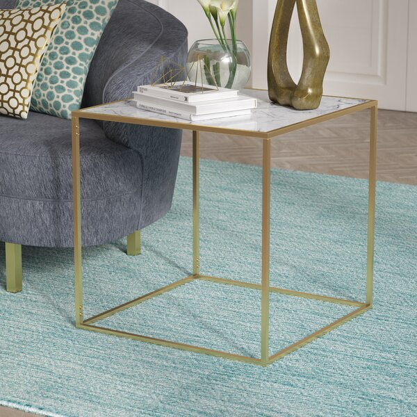 Theydon Faux Marble End Table by Willa Arlo Interiors