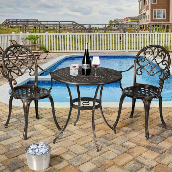 Horta Outdoor 3 Piece Bistro Set by Charlton Home