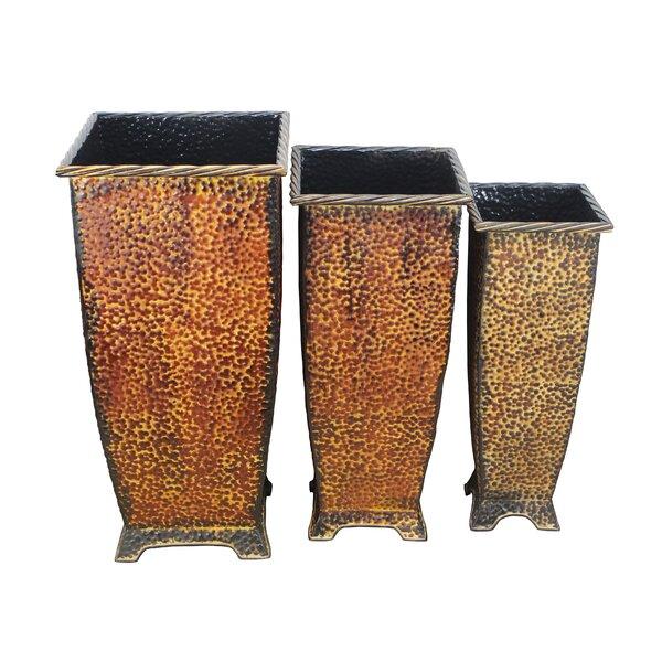 Tall 3-Piece Metal Pot Planter Set by Cheungs
