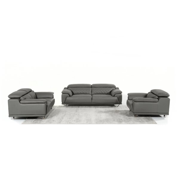 Cardinale 3 Piece Leather Living Room Set by Orren Ellis