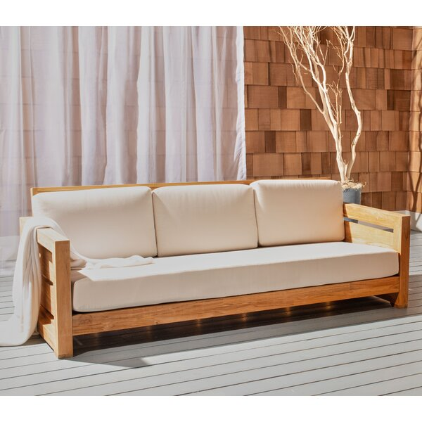 Drumheller Teak Patio Sofa with Cushions by Highland Dunes