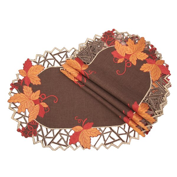 Harvest Hues Embroidered Cutwork Fall Placemat (Set of 4) by Xia Home Fashions
